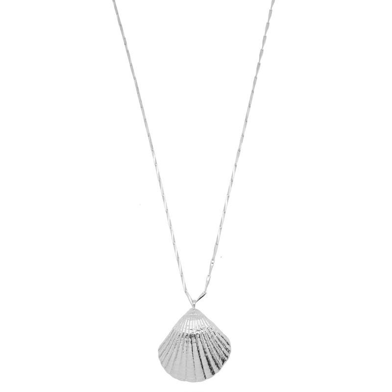 Collier sautoir Argent PALOMA - Sautoir chaîne diamantée & Pendentif coque