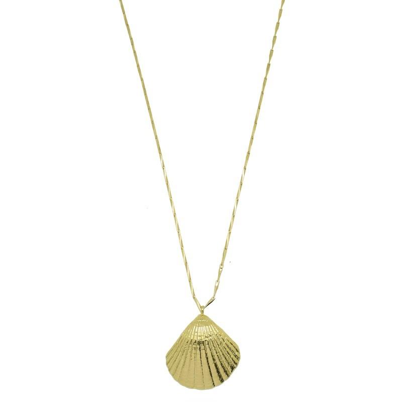 Collier sautoir Or PALOMA - Sautoir chaîne diamantée & Pendentif coque
