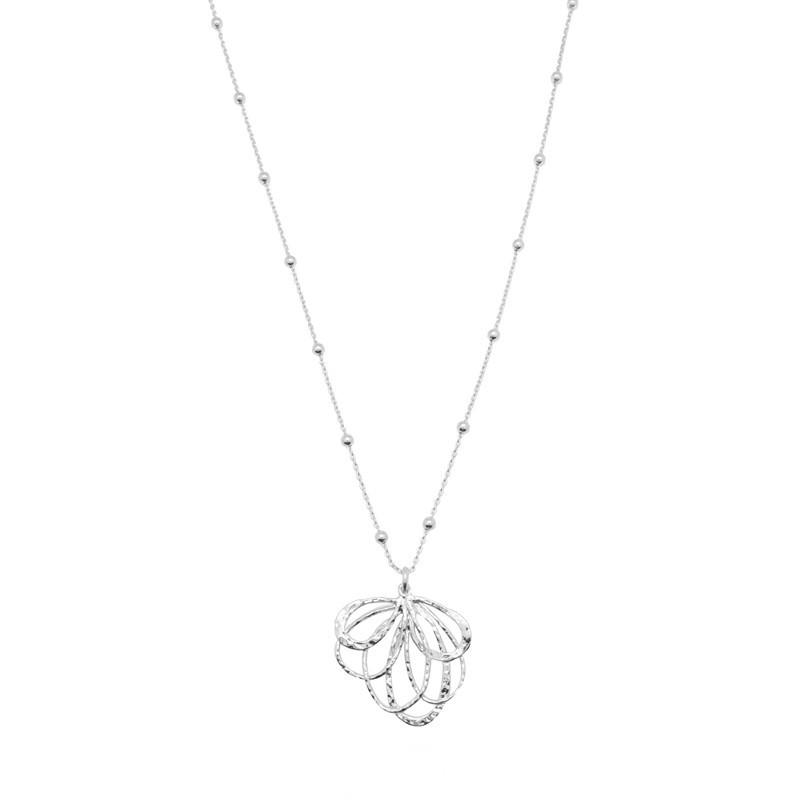 Collier Argent ZELIE - Chaîne boules & pendentif feuille design
