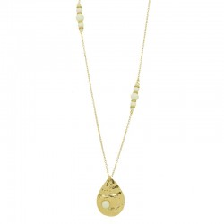Collier sautoir Or ZANZIBAR - Chaîne perlée blanc & Pendentif huître perlière