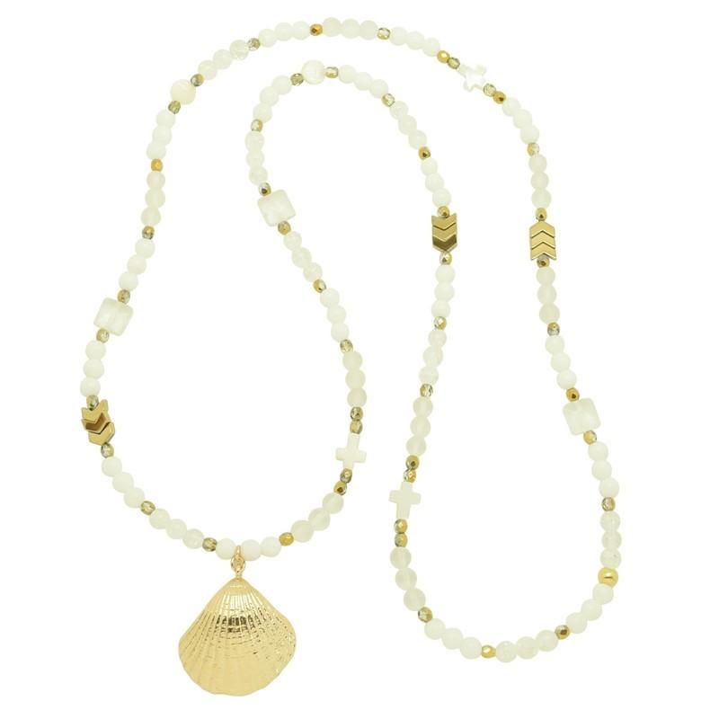Collier sautoir Or PALOMA - Chaîne perlée blanc & Pendentif huître perlière - Pluie d'Etoiles bijoux