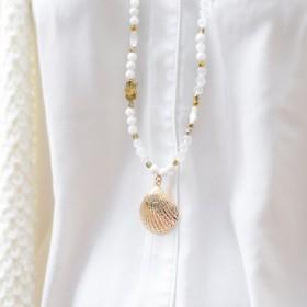 Collier sautoir Or PALOMA - Chaîne perlée blanc & Pendentif huître perlière