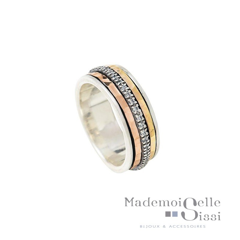 Bague THEMA - Bague anneaux Argent & 2 ors & Zircons - LA BEAUTE