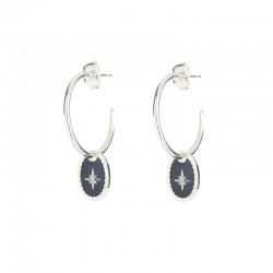 Boucles d'oreilles Rose des Vents - Petites créoles Argent & médaille laquée bleue