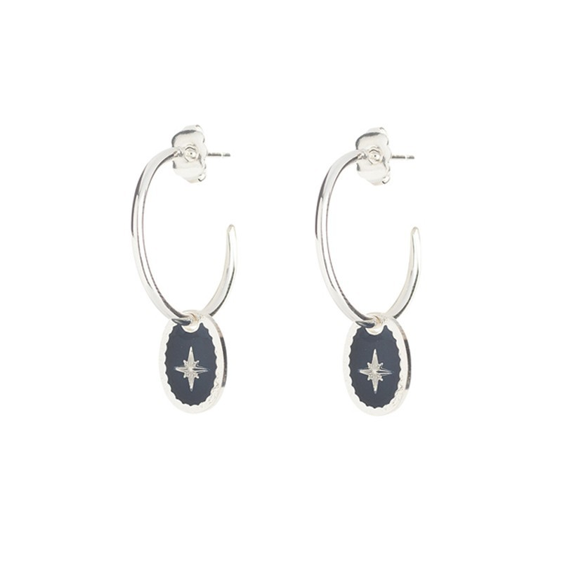 Lovely Day Bijoux - Boucles d'oreilles Rose des Vents - Petites créoles Argent & médaille laquée bleue