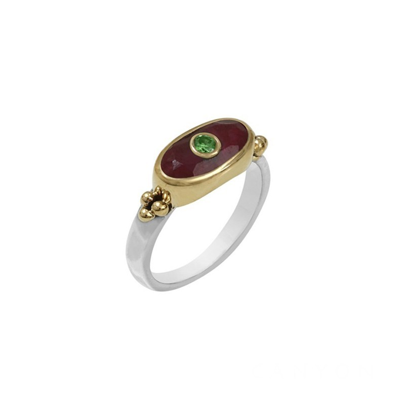 Bague Canyon - Bague Argent Laiton doré - Silimanite rouge rectangle & Petit brillant vert