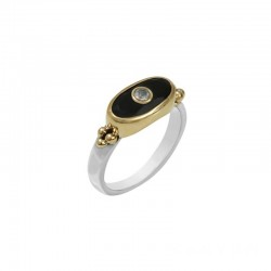 Bague Canyon - Bague Argent Laiton doré - Onyx noir rectangle & Pierre de Lune