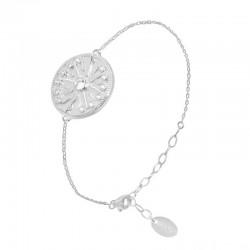 Bracelet chaîne Argent & Rosace ethnique zircons blancs
