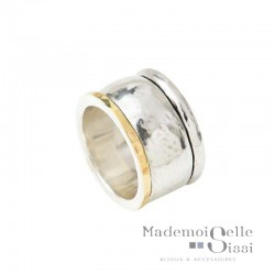 Bague THEMA - Bague Large Argent & Or - LA DESIRABLE
