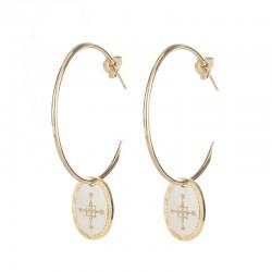 Boucles d'oreilles L'Etincelle - Grandes créoles & Médaille blanc doré