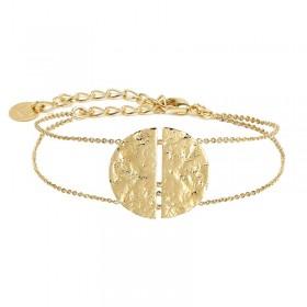 Bracelet chaîne Luna plaqué or - Demies-Lunes frappées design