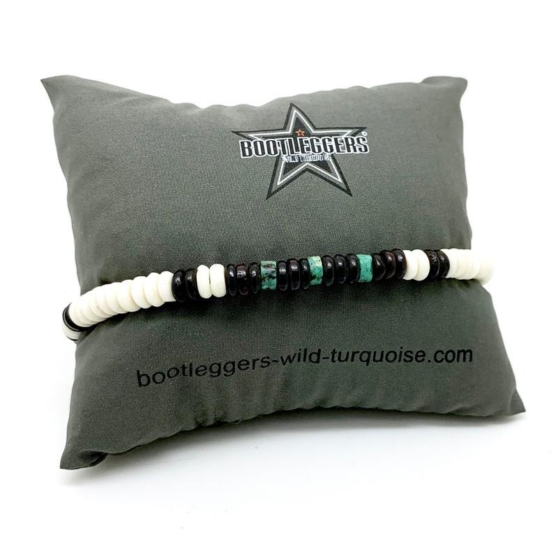 Bracelet homme ROLLING HOPI - Perles Heishi blanc marron turquoise