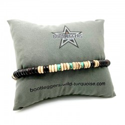Bracelet homme ROLLING HOPI - Perles Heishi marron beige & turquoise