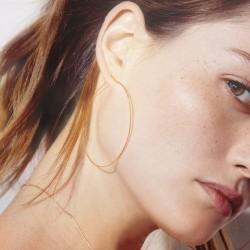 Boucles d'oreilles Grandes Créoles Ode plaqué or - Cercle fin ciselé design