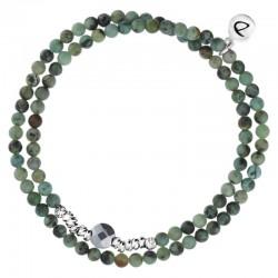 Bracelet multi-tours élastiqué Argent - Perles vertes grises & Perle solitaire