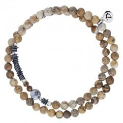 Bracelet multi-tours élastiqué Argent - Jaspes beiges & Perle solitaire