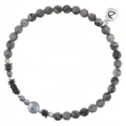 Bracelet fin élastiqué Argent - Agates & Hématites grises