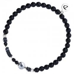 Bracelet Perles élastiqué Noir Argent - Onyx brillantes et Hématites