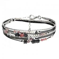 Bracelet multi-tours Argent - Cordons noir & Perles roses hématites