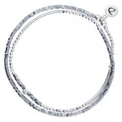 Bracelet multi-tours élastiqué Flirting argent - Petites perles grises