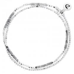 Bracelet multi-tours élastiqué Birdy argent - Perles de verre grises