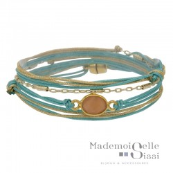 Bracelet BY GARANCE - multi-rangs Indy - Cordons turquoise doré & Pierre Quartz rose