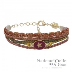Bracelet BY GARANCE - Multi-rangs Rachel - Liens & Médaille Trèfle rose doré
