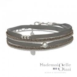 Bracelet BY GARANCE - multi-tours Pepita - Rubans gris tourterelle & Liens Argent