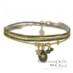 Bracelet multi-rangs Anita - Lurex vert doré & Médaille verte étoile dorée