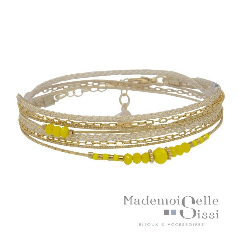 Bracelet Multi-tours Nina - Liens beiges dorés & Perles jaunes