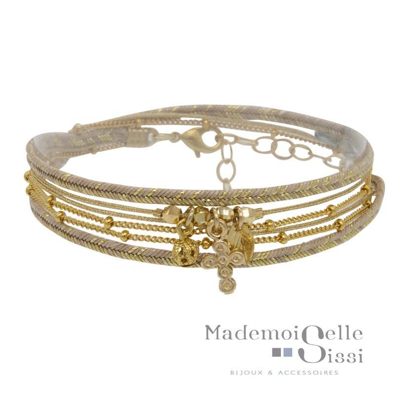 Bracelet multi-tours Coline - Liens beiges dorés & Médaille croix doré