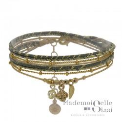 Bracelet multi-tours Coline - Liens verts dorés & Médaille symboles dorés