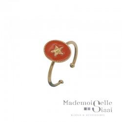 Bague fine ajustable Rachel - Médaillon émaillé corail & Etoile dorée