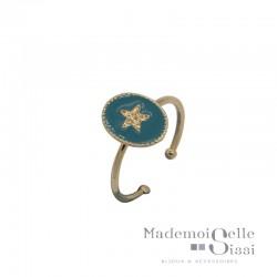 Bague BY GARANCE fine ajustable Rachel - Médaillon émaillé bleu canard & Etoile dorée