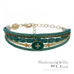 Bracelet BY GARANCE - Multi-rangs Rachel - Liens & Médaille Etoile vert doré