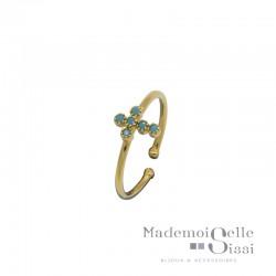 Bague BY GARANCE fine ajustable Lise - Médaillon croix & Turquoises