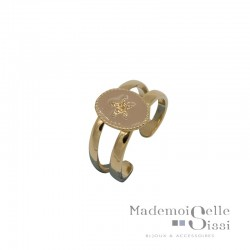 Bague BY GARANCE large ajustable Alicia - Médaillon Etoile beige