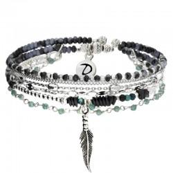 Bracelet multi tours Argent - Perles turquoises hématites & Plume