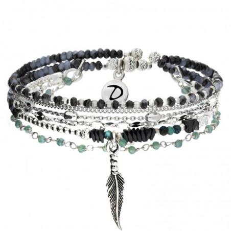 Bracelet élastique multi-tours Argent - Perles turquoises hématites & Plume