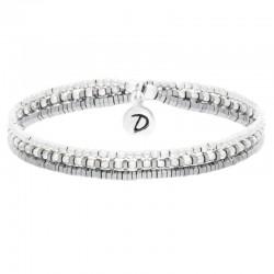 Bracelet triple tours élastiqué Heaven Argent Perles Hématites grises