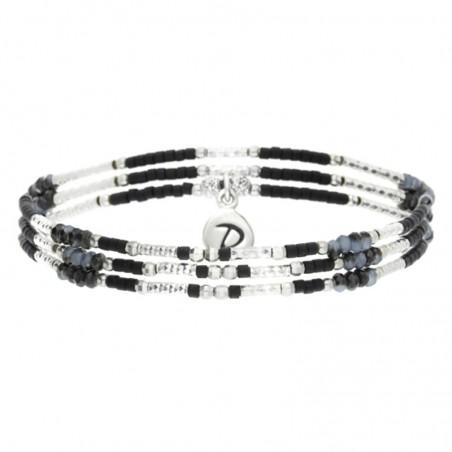 Bracelet multi-tours élastique Argent & Perles noires