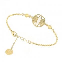 Bracelet chaîne CAMPA doré & Médaillon touareg blanc