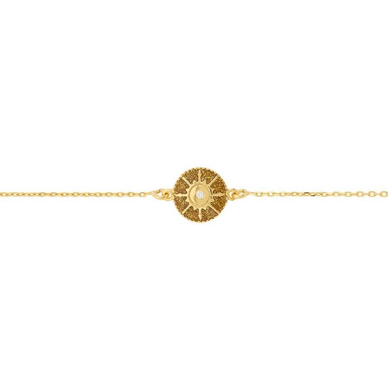 Bracelet chaîne dorée ajustable SOLEIL - Médaillon émail doré & Zircon