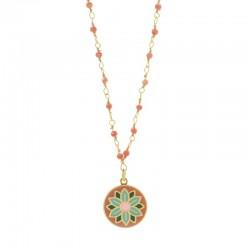 Collier chaîne fine Inde Jaipur doré  - Pendentif & perles Corail