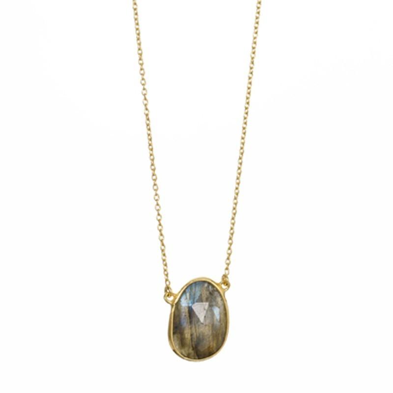 Collier court chaîne fine dorée & Pendentif Oval Labradorite