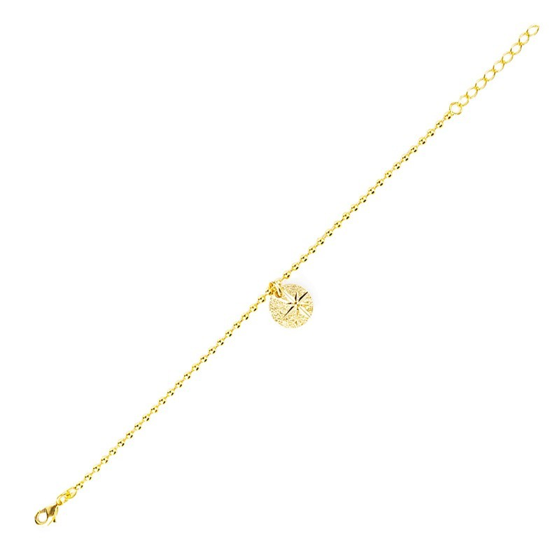Lovely Day Bijoux - Bracelet Bola Etoile - Chaîne boules dorée & médaille dorée design