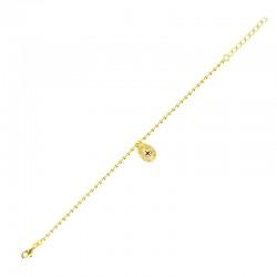 Bracelet Bola Eclat - Chaîne boules dorée & médaille noire éclat