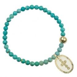 Bracelet élastiqué Foi - Howlites turquoises Médaille croix blanche