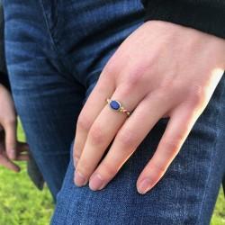 Bague fine ethnique en argent laiton doré Lapiz Lazuli & perles rouge