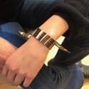 Bracelet à nouer - Ruban de soie camel & noir - 2 cm